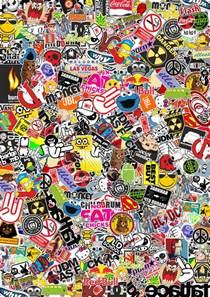 sticker wallpaper stickerbomb my work by romaxp on deviantart