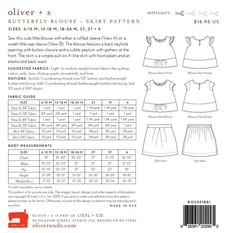 Pattern Review Oliver S | oliver s os051bb butterfly blouse and skirt