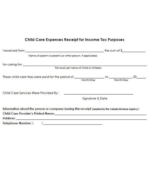 child care expenses receipt template 7 expense receipt template exles in word pdf