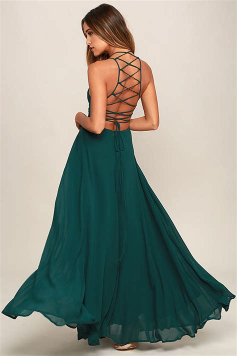 Dress Green chic forest green dress lace up dress backless dress
