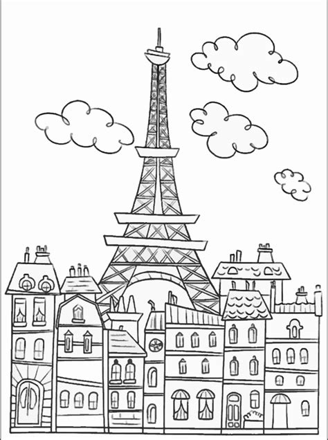 coloring pages for adults buildings paris buildings eiffel tower cute coloring page to