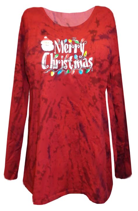 sold out merry christmas red tie dye plus size long