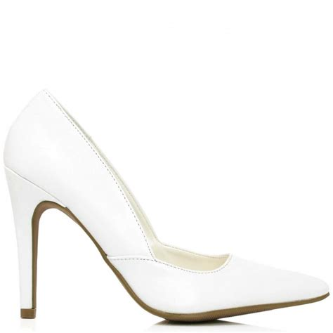 buy kenya stiletto heel court shoes white leather style