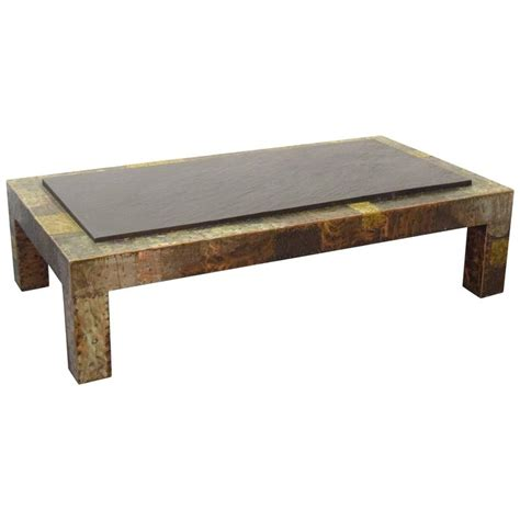 large paul slate top patchwork coffee table for sale