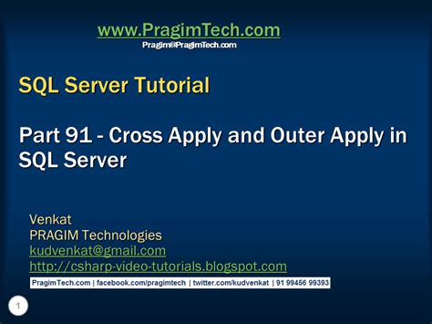 tutorial video sql sql server net and c video tutorial cross apply and