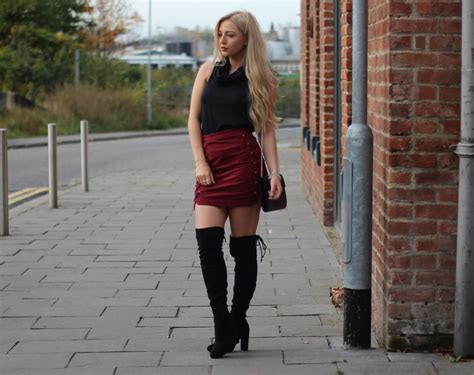 suede skirt knee high boots couture