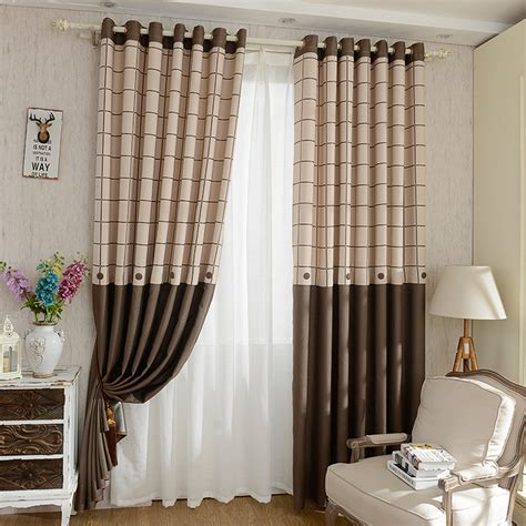 plaid drapes modern linen cotton blackout brown plaid curtains