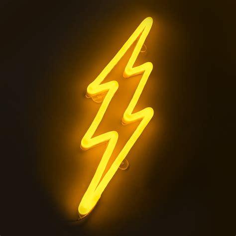 applique neon applique murale neon eclair jaune dimmable avec