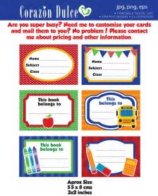 Book Labels Template by Back To School Labels Printable School Labels Tags Book