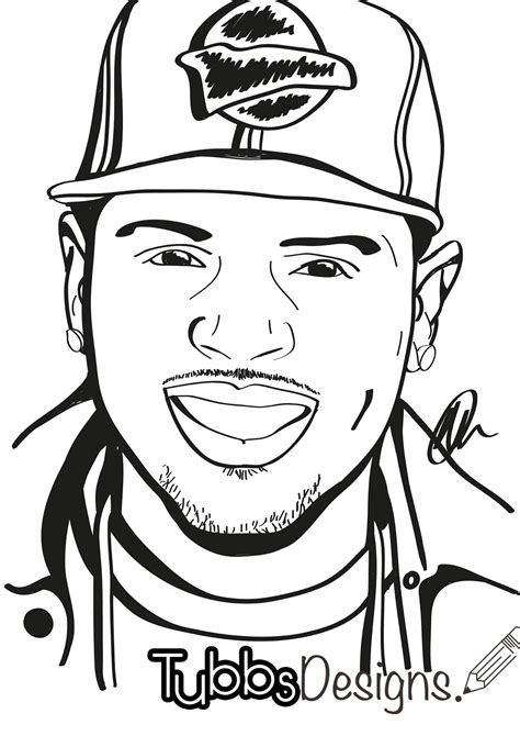 Chris Brown Drawing Easy Sketch Coloring Page Chris Brown Coloring Pages
