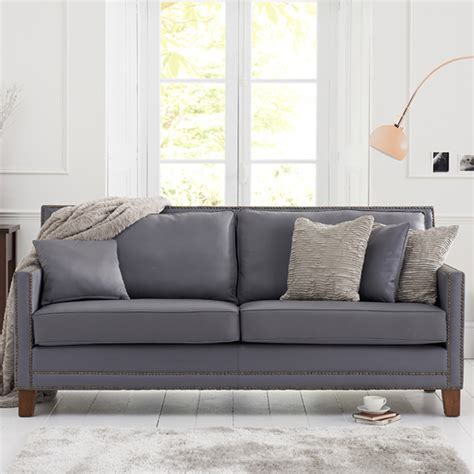 grey sofa with dark wood arundel grey leather 3 seater sofa with dark ash wood legs