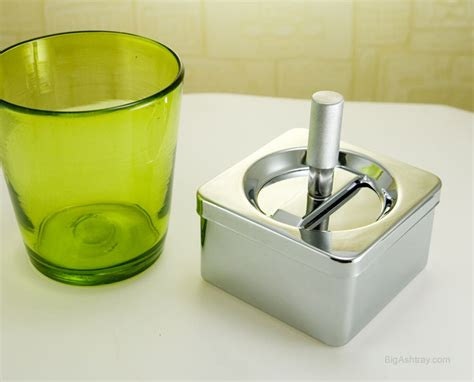 Covered Patio Ashtrays by Stainless Steel Push Ashtray Box With Debris