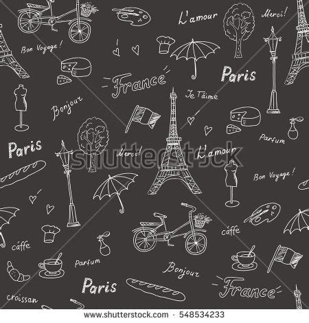 travel pattern in french set hand drawn french icons paris stock vector 318770147