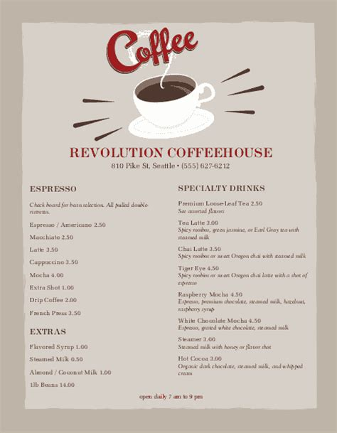 coffee menu coffee house menus