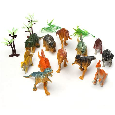 Wisebuy 12 New Plastic Animals Figures Set With Coconut Tree 12pcs small plastic dinosaurs animals figures