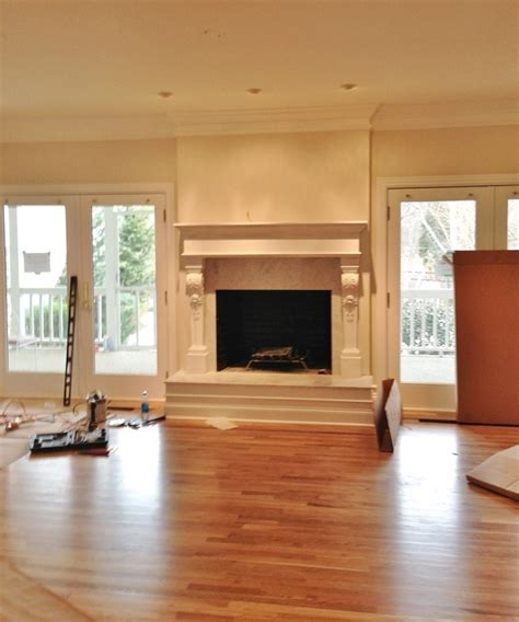 Drywall Brick Fireplace by Fireplace And Mantel Renovation Makeover