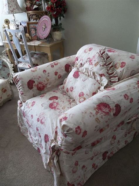 Waverly Vintage Norfolk Rose Chair Slipcover Shabby