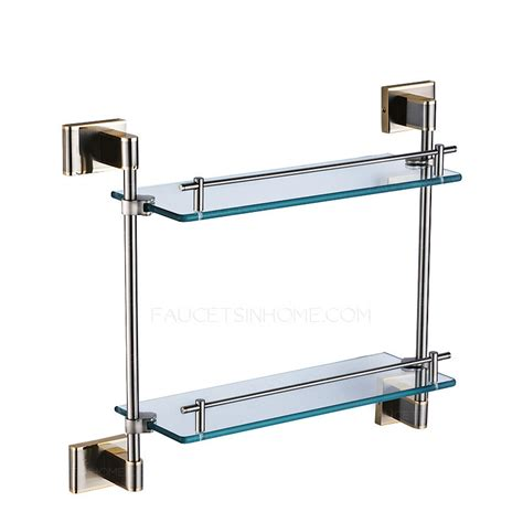 modern brass glass bathroom shelves