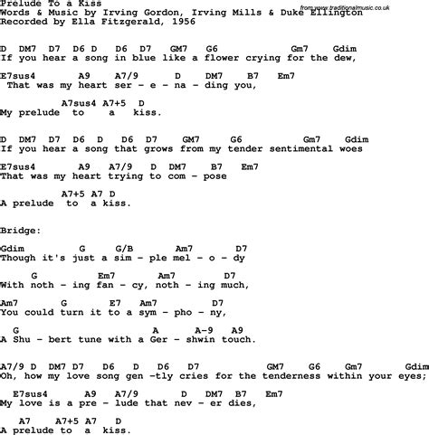 lyrics ella fitzgerald song lyrics with guitar chords for prelude to a