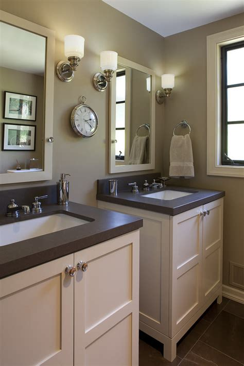 Bathroom With Two Vanities by Spacing Of 2 Single Vanities