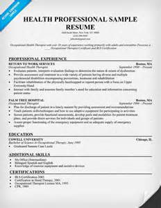 Resume Template For Healthcare Professionals Health Professional Sle Resume Http Resumecompanion Health Career Resume Sles