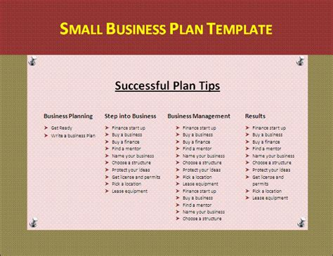 business plan templates small business plan template by formsword