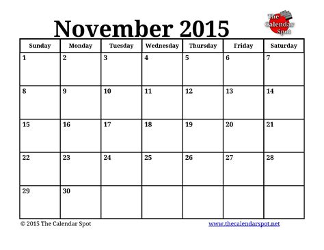 Calendar Template Printable November 2015 8 Best Images Of Nov 2015 Calendar Printable November