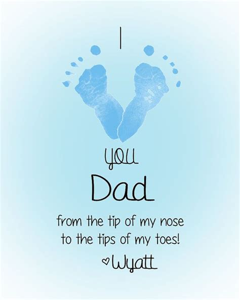 fathers day footprint personalized baby footprint print i you