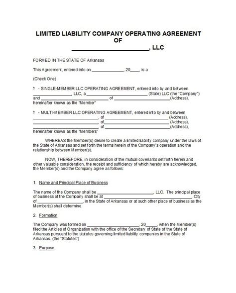 operating agreement template for llc 30 free professional llc operating agreement templates