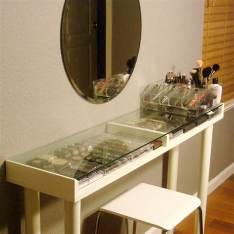 Narrow Makeup Vanity Table Narrow Makeup Vanity Table Oval Wall Mirror And Makeup Storage Glass Top Plus White