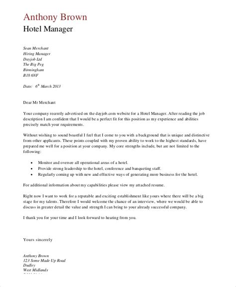 application letter format hotel