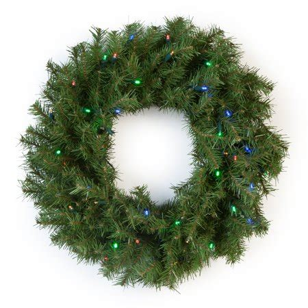 walmart pre lit wreath with battery and timer national tree 24 quot norwood fir wreath with 50 multi battery operated led lights walmart