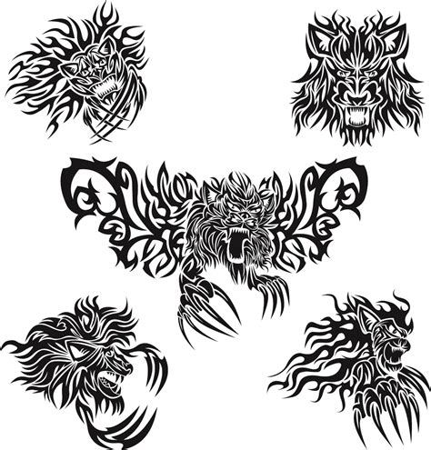 pattern animal tattoo classic animal tattoo patterns 05 vector free vector 4vector