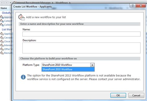 workflow manager server error the option for the sharepoint 2013 workflow