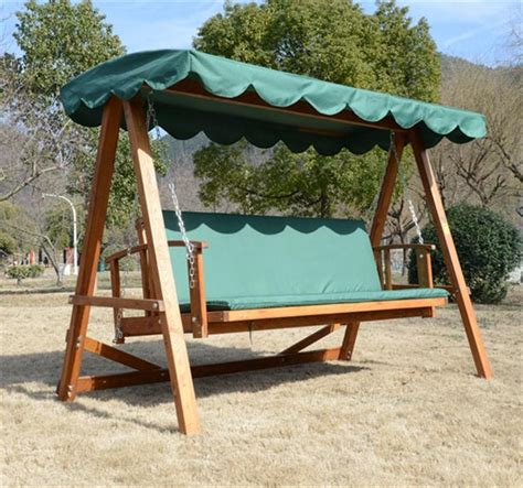 reclining wooden patio swing cushion green aosom ca