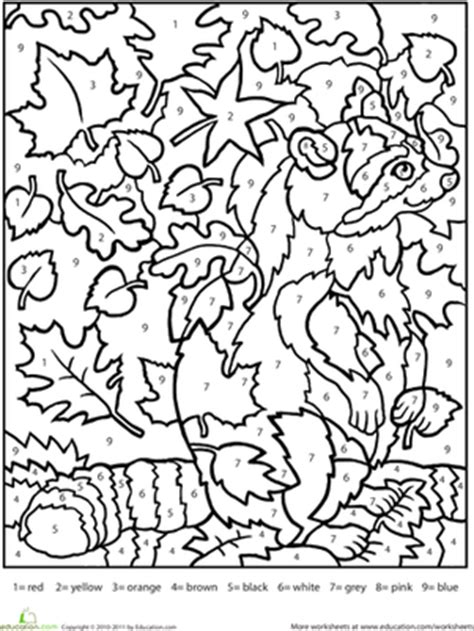 autumn math coloring pages color by number raccoon worksheet education com