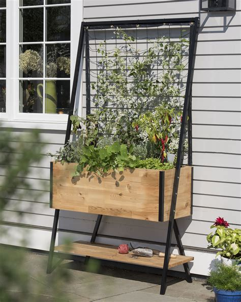 elevated cedar planter box space maker pivoting trellis 2x4