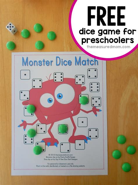 printable games for preschoolers free preschool math game monster dice match the