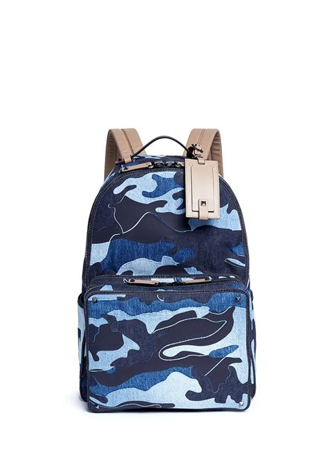 Patchwork Backpack - valentino camouflage patchwork denim backpack in blue for