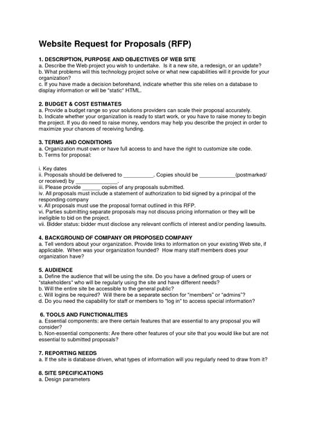 format rfp proposal 6 best images of request for proposal exles rfp