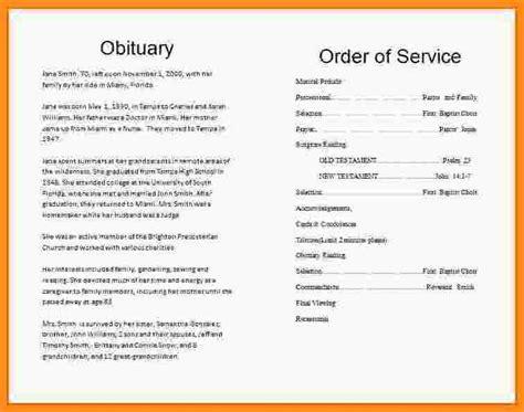 7  memorial service program sample   parts of resume