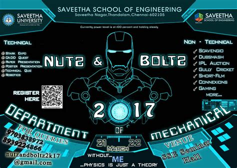 engineering design event nutz and boltz 2k17 saveetha school of engineering