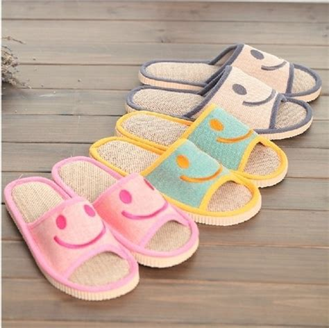 funny house shoes new 2015 card love smiling face indoor slippers natural linen antiskid couple slippers funny