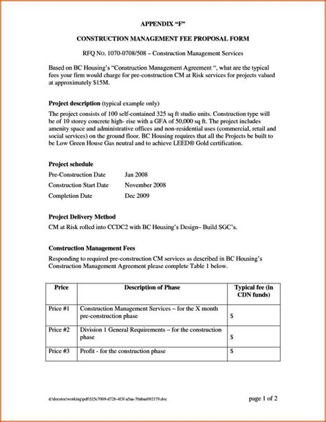 Construction Project Management Agreement Template Sletemplatess Sletemplatess Project Management Fee Template