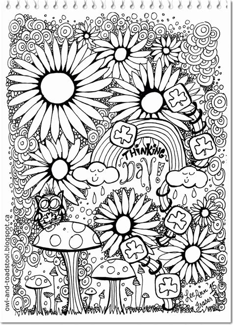 owl toadstool girl guide doodles adult colouring