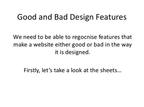 good layout features good and bad design features