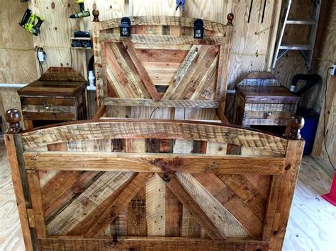 diy pallet bed frame  lighted headboard  night stands pallets pro