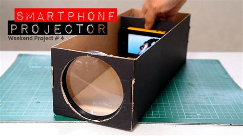 how to make a diy home theater projector and 50 quot screen build a smartphone projector with a shoebox youtube