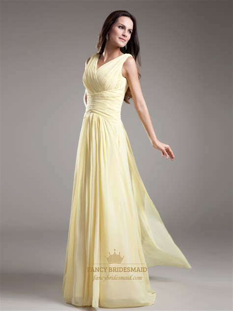 Light Yellow Bridesmaid Dresses by Light Yellow V Neck Sleevless Ruched Chiffon