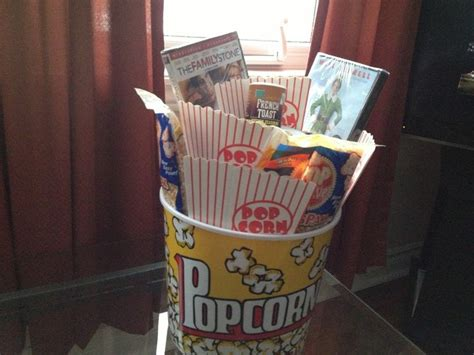 christmas movie themed gift basket a bucket of popcorn